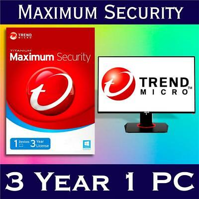 Trend Micro Maximum Security 2018 1 PC / Device 3 Years - Electronic Download