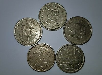 job lot of old pound coins from iom gibraltar and falklands