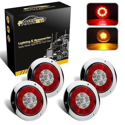 """4x4"""" Round Red/Amber 16 LED Stop Tail Turn Signal Reflex Lights w/Stainless Ring"""