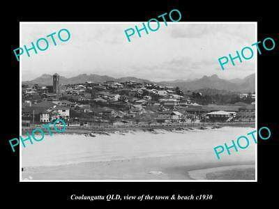 OLD LARGE HISTORIC PHOTO OF COOLANGATTA QUEENSLAND, THE TOWN & BEACH c1930 1