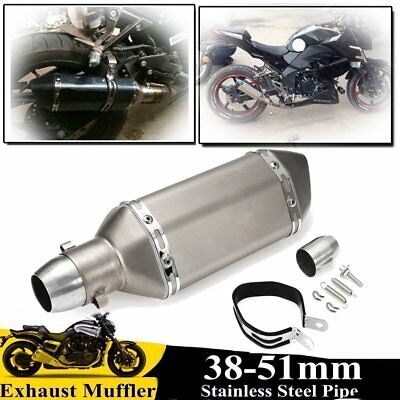 38-51mm Universal Motorcycle Steel Exhaust Muffler Pipe with Removable Silencer