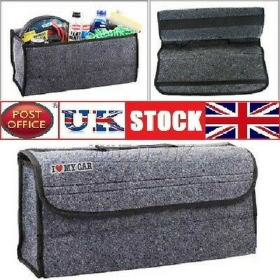 Car Boot Organiser Grey Large Velcro Carpet Storage Bag Tools Car Boot Tidy
