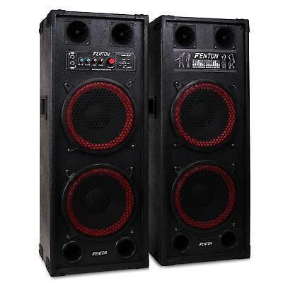 """Dj 10"""" Pa Speaker Pair Dual Bass 1200W Usb Sd Mp3 System *free P&p Special Offer"""