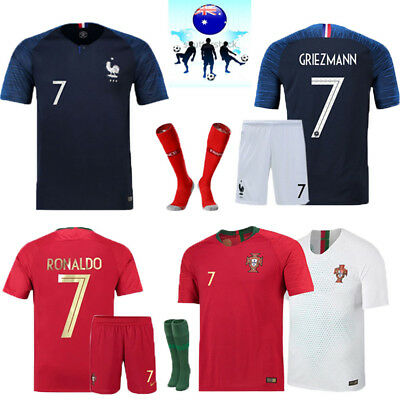 2018 World Cup Football Soccer Short Sleeve Kit for 3-14 Yrs Kids Sport Outfits