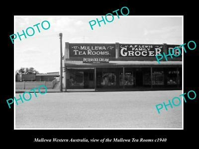 OLD LARGE HISTORIC PHOTO OF MULLEWA WESTERN AUSTRALIA, VIEW OF TEA ROOMS c1940