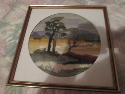 LONG STITCH COMPLETED & FRAMED AUSTRALIAN COUNTRY SCENE-UNDER GLASS.37x 37 cm.