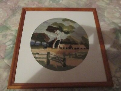 LONG STITCH COMPLETED & FRAMED AUSTRALIAN COUNTRY SCENE-UNDER GLASS.41 x 41 cm.