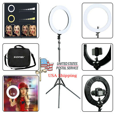 USA 50W 2700k-5500K Dimmable LED Ring Light Stand Kit F Camera Phone Video Shoot