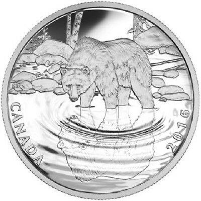 2016 $10 Canada - Reflections of Wildlife - Grizzly Bear - 99.99% Silver Proof