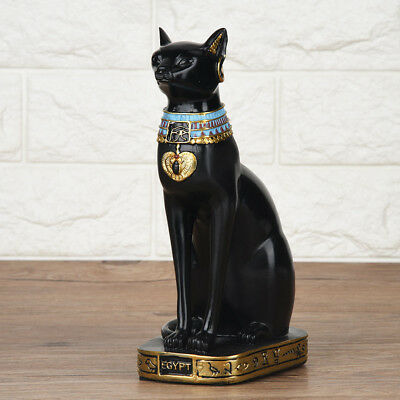 Vintage Egyptian Black Cat Bastet God Figurine Pharaoh Statue Home Decor