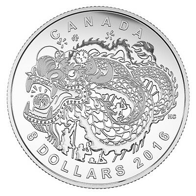 2016 $8 Dragon Dance  99.99% - Silver Proof Coin - Royal Canadian Mint – RCM
