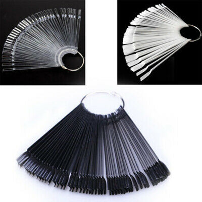 50 Pcs Nail Art Tips Pop Stick Display Fan Fashion Starter Ring Clear DIY 3Color