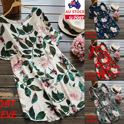 Plus Size Women Floral Short Sleeve Dress Summer Beach Holiday Oversized Dress