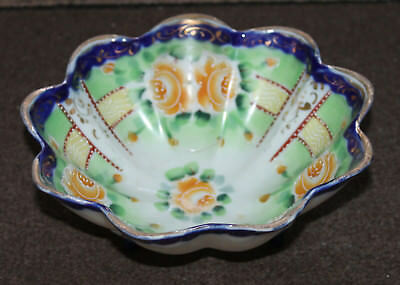A Superb Late C19th Japanese Satsuma Enamel Blossoms Gilt 3 Footed Scallop Bowl