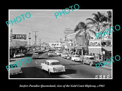 OLD HISTORIC PHOTO OF SURFERS PARADISE QUEENSLAND, GOLD COAST HIGHWAY c1963 1