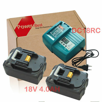 Makita Replace BL1840 18V 4A Li-Ion LXT 2 x Batterie Con Caricabatterie DC18RC