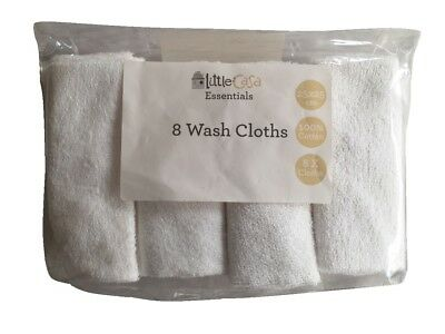 Pack of 8 Cotton Baby Wash Cloths Washcloths Towel Flannel 25 x 25cm