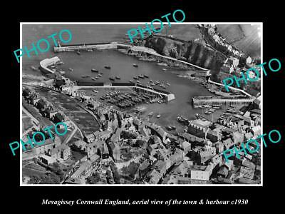 Old Historic Photo Of Mevagissey Cornwall England, View Of Town & Harbour 1930 2