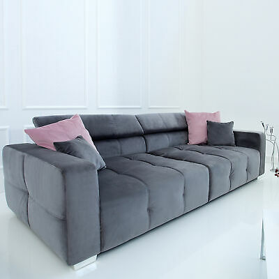 Big Sofa HERITAGE 290cm grau inkl. Kissen Couch Microvelours Chesterfield