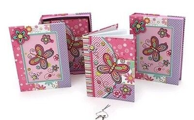 Girls Childrens Butterfly Pink/Purple Lockable Diary & Keys w Picture Frame Box