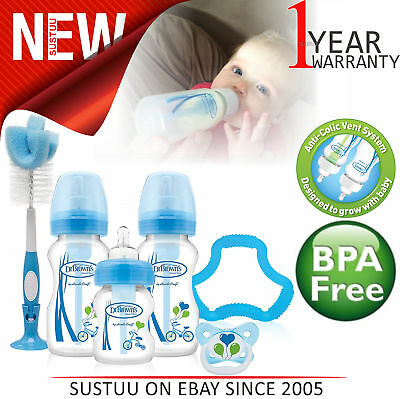 Dr Brown's Options Baby Bottles Gift Set With Soother,Teether & Bottle Brush│New