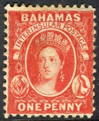BAHAMAS-1882 1d Scarlet Vermilion Perf 12.  A lightly mounted mint example Sg 40