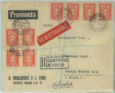 68590 - LITHUANIA - POSTAL HISTORY -  REGISTERED COVER to GB - 1933