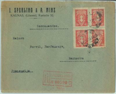 68605 - LITHUANIA - POSTAL HISTORY -  REGISTERED COVER to FRANCE - 1933