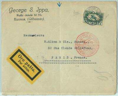 68609 - LITHUANIA - POSTAL HISTORY -   AIRMAIL COVER to FRANCE - 1933