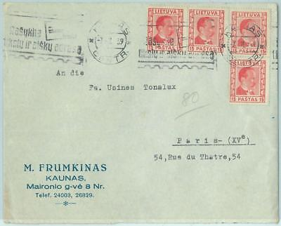 68608 - LITHUANIA - POSTAL HISTORY -   COVER to FRANCE - 1939