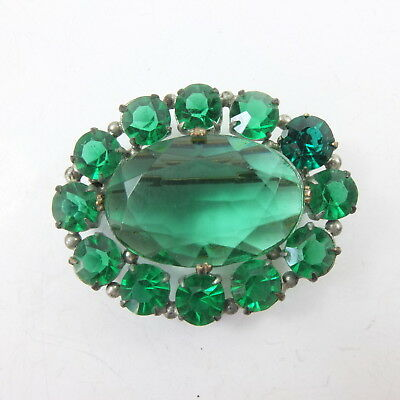 Antique Edwardian Emerald Green Paste Open Back White Metal Costume Brooch