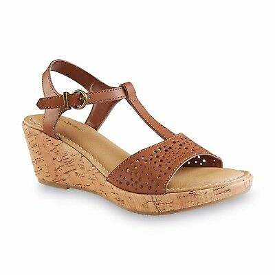 e4a688fed82a THOM MCAN WOMEN S Cognac Weslyn Wedge Sandals Shoes Size 8 Medium   50172 -   31.98