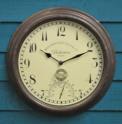Wall Clock and Thermometer Bickerton Garden Clock Outside In Designs
