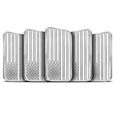 Lot of 5 - 1 oz Sliver Bar Silvertowne American Flag Design .999 Fine - Sealed