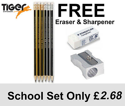 HB Pencils,  6HB + FREE STAEDTLER ERASER +FREE METAL SHARPENER