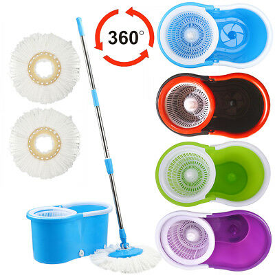 Super Spin Adjustable 360 Degree Spinning Mop Bucket Home Cleaning + 2 Mop Pads