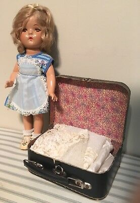 """13"""" vintage COMPOSITION DOLL with suitcase clothes"""