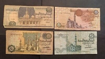 Egypt 4 different banknotes 1980s