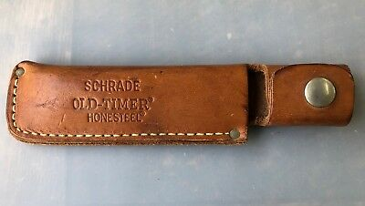 Vintage Schrade Old Timer Honesteel Knife Sharper Leather Case