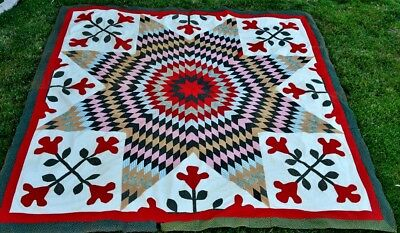 Antique 19th century Hand Stitched Star and Tulip Quilt Top