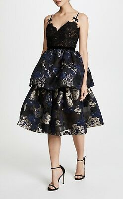 995 New Marchesa Notte Two Tiered Cocktail Dress Black Lace