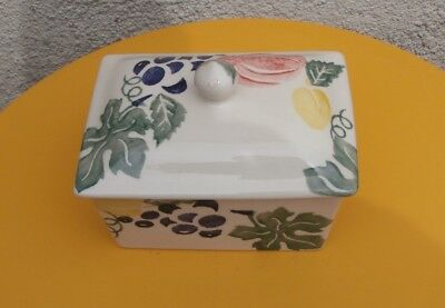 Rare Emma Bridgewater For Harrods Sponge Printed Butter Dish, Grapes,etc