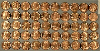 1969-S Uncirculated Full Roll Lincoln Cents - (50 Coins), Rj6