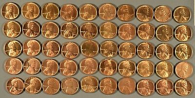 1940-1949 Mixed Date Uncirculated Full Roll Lincoln Cents - (50) Coins, Rj16