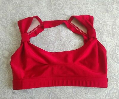 Oxyjen Oxygen Activewear Dance Top Bra Top~Red, Sz Youth Large
