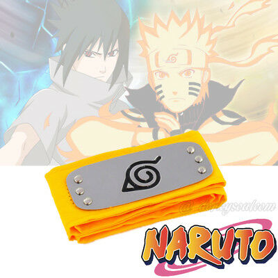 Naruto Sasuke Shippuden Anime Hidden Leaf Village Headband Protector Yellow YL