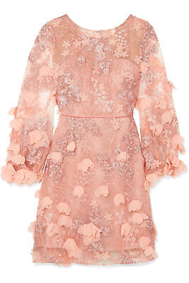 $795 New Marchesa Notte Pink 3D Floral Embroidered Dress Lace Blush Nude 0 8 10