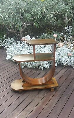 ART DECO  Stand PEDESTAL telephone phone table plant shelf vintage curved timber