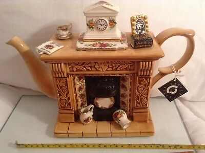 Cardew Old Country Roses Collectable Lge Novelty Teapot Fireplace Grt Condition