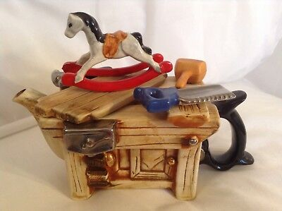 Teapottery Swineside Novelty Collectable Teapot Rocking Horse Bench Grt Condtion